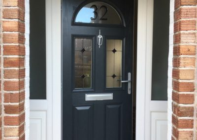Composite door with number glass
