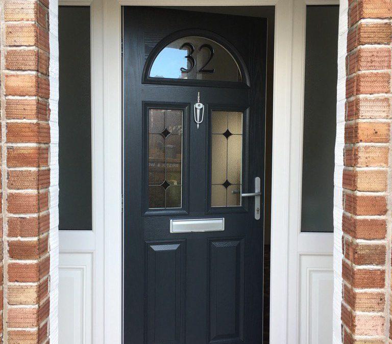 Composite door with number glass